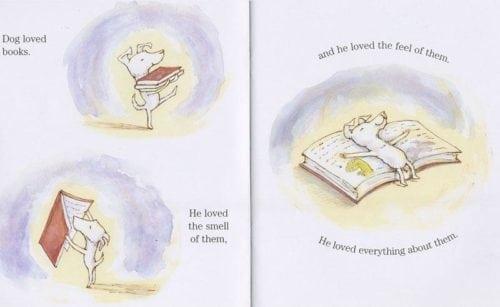 ¡le encantan todos los libros! Dog tiene su propia librería