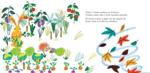 Erizo y Conejo se dan un buen susto. El viento arrastra las hojas y ellos piensan que ha venido un monstruo. ¿Cómo se defenderán de él?