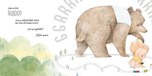 nuestro pequeño protagonista imagina quién puede gruñir así: un gran oso